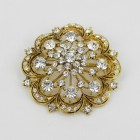 515064 Clear in Gold  Brooch