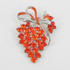 515073 Red in Silver Brooch