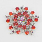 515075 Red in Silver Brooch