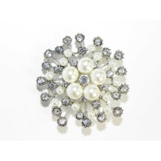 515094-101  Crystal Silver and Pearl Brooch