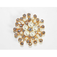 515094-201 Crystal Gold and Pearl Brooch