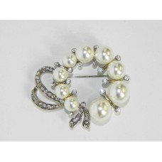 515095 Crystal Silver and Pearl Brooch