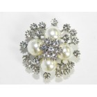 515096 Crystal Silver and Pearl Brooch