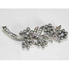 515098-129 Silver Brooch with Grey Pearl
