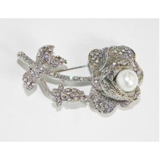 515099-101 Crystal Silver Brooch with Pearl