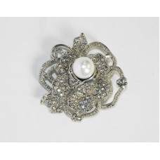 515100 Crystal Silver Brooch with Pearl