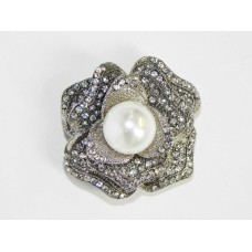 515101 Crystal Silver Brooch with Pearl