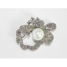 515102 Crystal Silver Brooch with Pearl