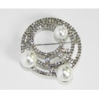 515104 Clear Crystal Silver Brooch with Pearl