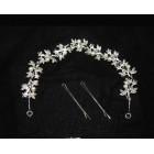 516103-101 Silver Bridal Hair Piece & Pearl