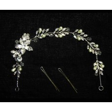 516116-101  Silver Hair Piece & Pearl