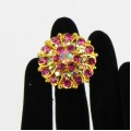 517305 fushia  in gold ring