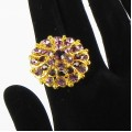 517305 purple  in gold ring