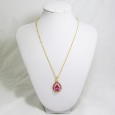 518086 pink in gold pendant