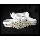581010-101 Rhinestone Marriage White Sash Belt