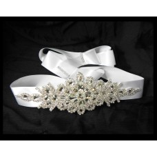 581010-101 Rhinestone Marriage White Sash Belt