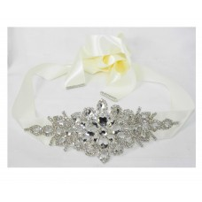 581010 Rhinestone Marriage Ivory Sash Belt