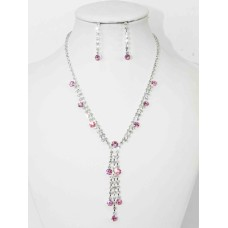 591300 Pink Necklace in Silver