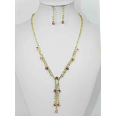 591300 PInk Necklace in Gold