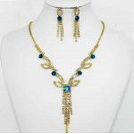 591372 Zir. Blue  Necklace Set in Gold