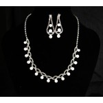591410 Silver Stone Necklace Set & Pearl