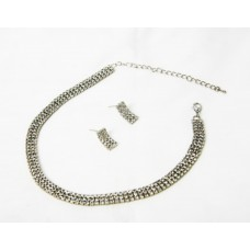 591459-102  Rhinestone Choker Necklace Set