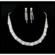 591461-101 Silver Necklace Set with Synthetic Pearl