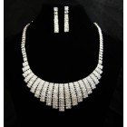 591466-101 Silver Rhinestone Necklace Set