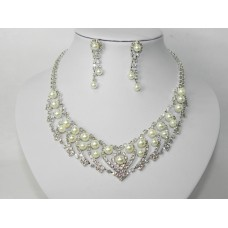 591467-101 Silver NecklaceSet & Pearl