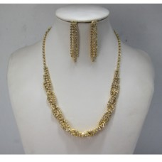 591499-201 Rhinestone Necklace Set in Gold