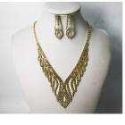 591501-201 Rhinestone Necklace Set in Gold