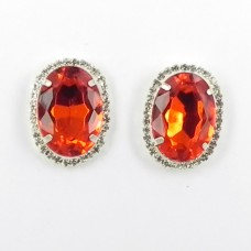 592371-107 Red Crystal Earring in Silver