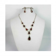 593512-107 Silver Necklace Set in Red