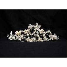 616052-101 Crystal Silver Tiara with Pearl