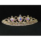 696053-201AB Clear in Gold Tiara comb