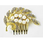 716017-201 Gold Crystal Hair Comb with Pearl