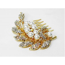 716017-201AB  Crystal Hair Comb in Gold