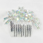 716018 Clear AB in Silver Hair Comb