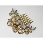 716019-101AB Crystal Hair Comb in Gold