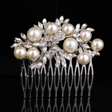 517311 Clear in Silver Crystal Hair comb with Pearls