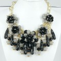 891025-202 Black Flowers Necklace in Gold