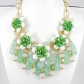 891025-206 Green Flowers Necklace in Gold