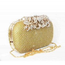 995064-201 Crystal in Gold , High quality flower diamante design  Evening purse