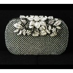 995064-102  Crystal in Black ,High quality flower diamante design Evening purse