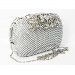 995064-101  Crystal in Silver , High quality flower diamante design Evering Purse
