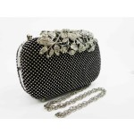 995064-102  Crystal in Black ,High quality flower diamante design Evening purse