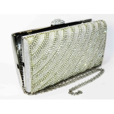 995065-101 Crystal Evening Purse with Pearl  in Silver