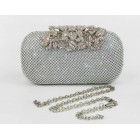 995080 Silver Crystal  Flower Diamante Design  Evening Purse