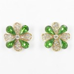 512354-206 Green Crystal Earring in Gold