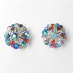 512364 Crystal Flower Shape Earrings in Silver